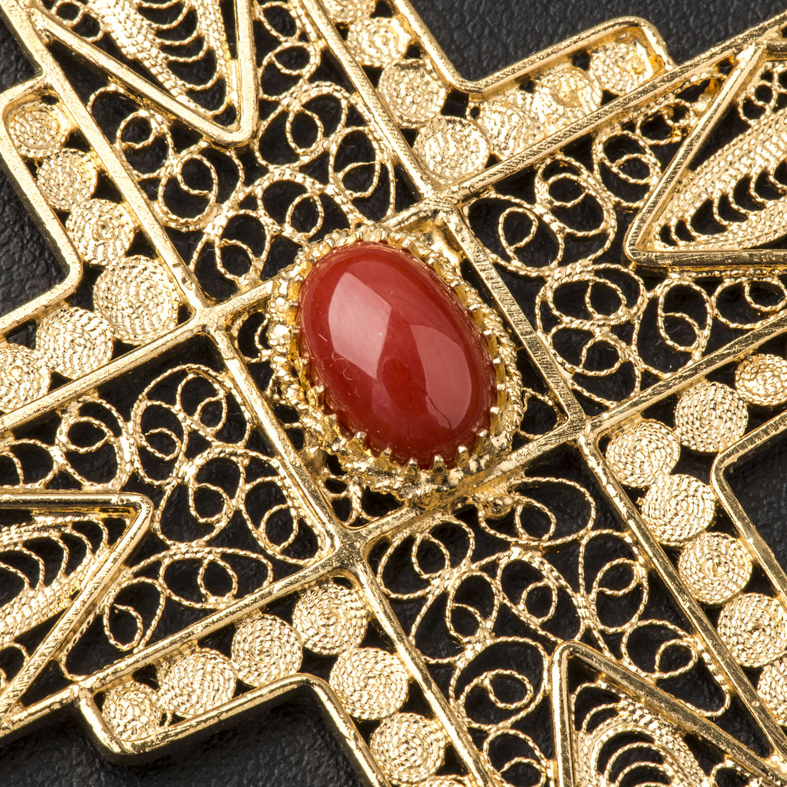 Pectoral Cross in golden silver filigree with coral stone 3