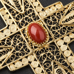 Pectoral Cross in golden silver filigree with coral stone s6