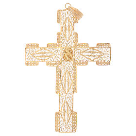 Pectoral Cross in golden silver filigree with coral stone s3