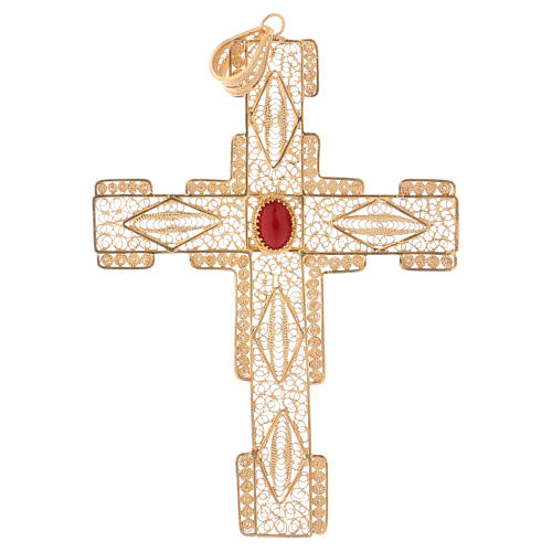 Pectoral Cross in golden silver filigree with coral stone 1