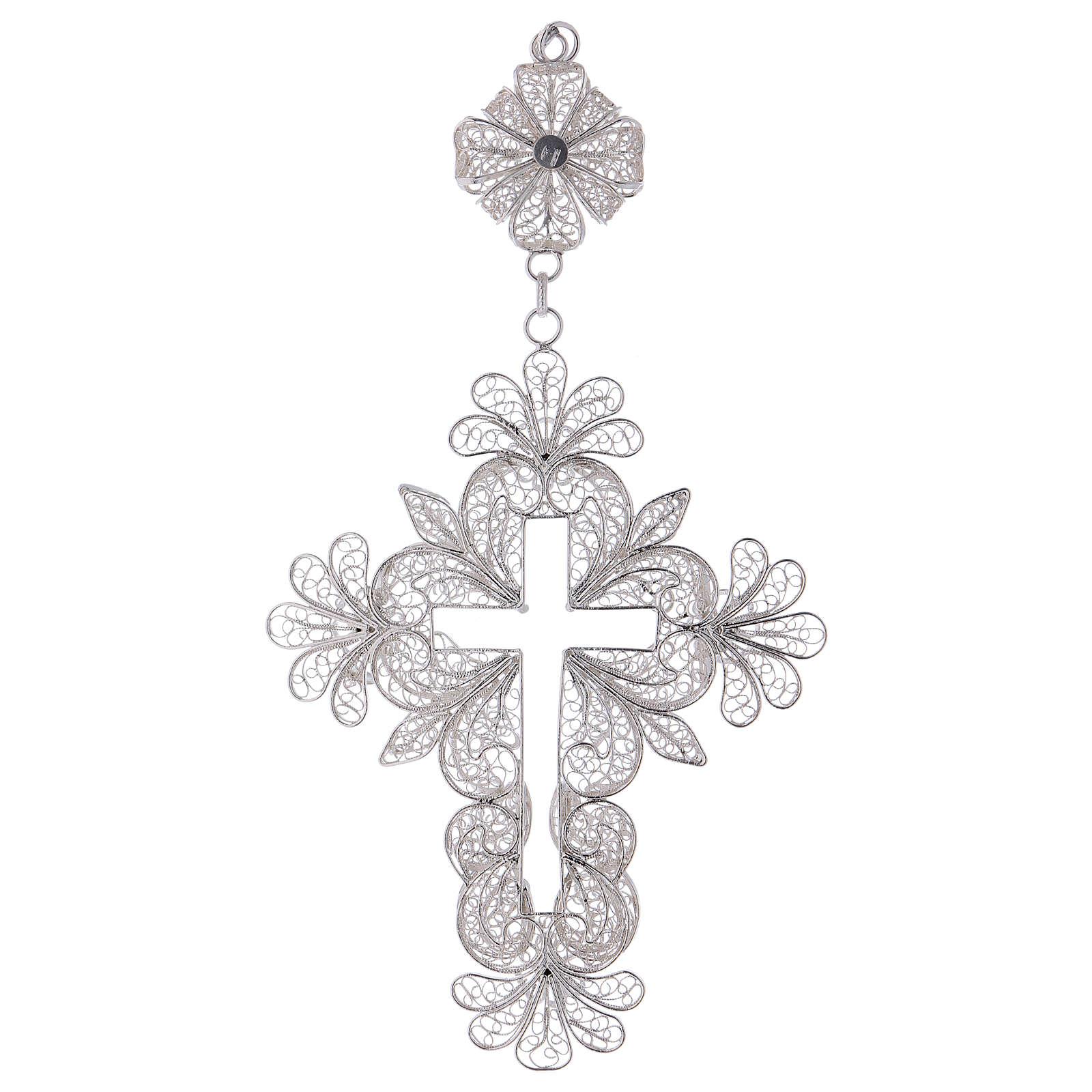 Croix pectorale en argent 800 filigrane 3