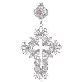 Croix pectorale en argent 800 filigrane s1