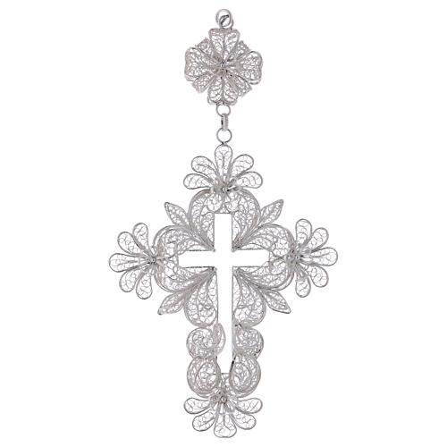 Croix pectorale en argent 800 filigrane 1