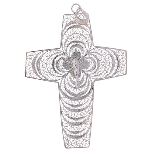 Pectoral Cross, hand made in silver 800 filigree 1