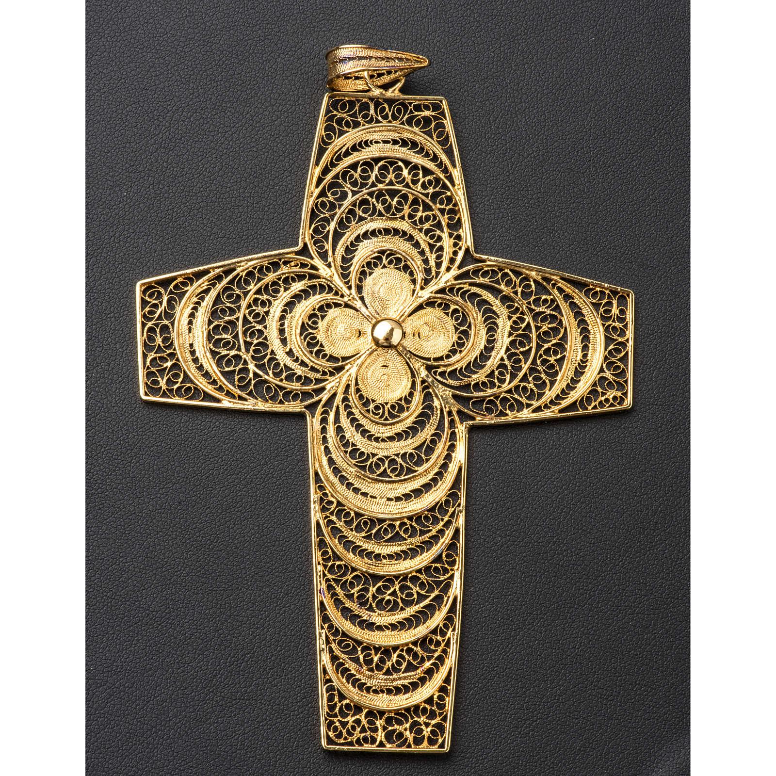 Croce pettorale in filigrana arg. 800 3
