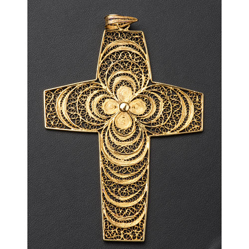 Croce pettorale in filigrana arg. 800 4