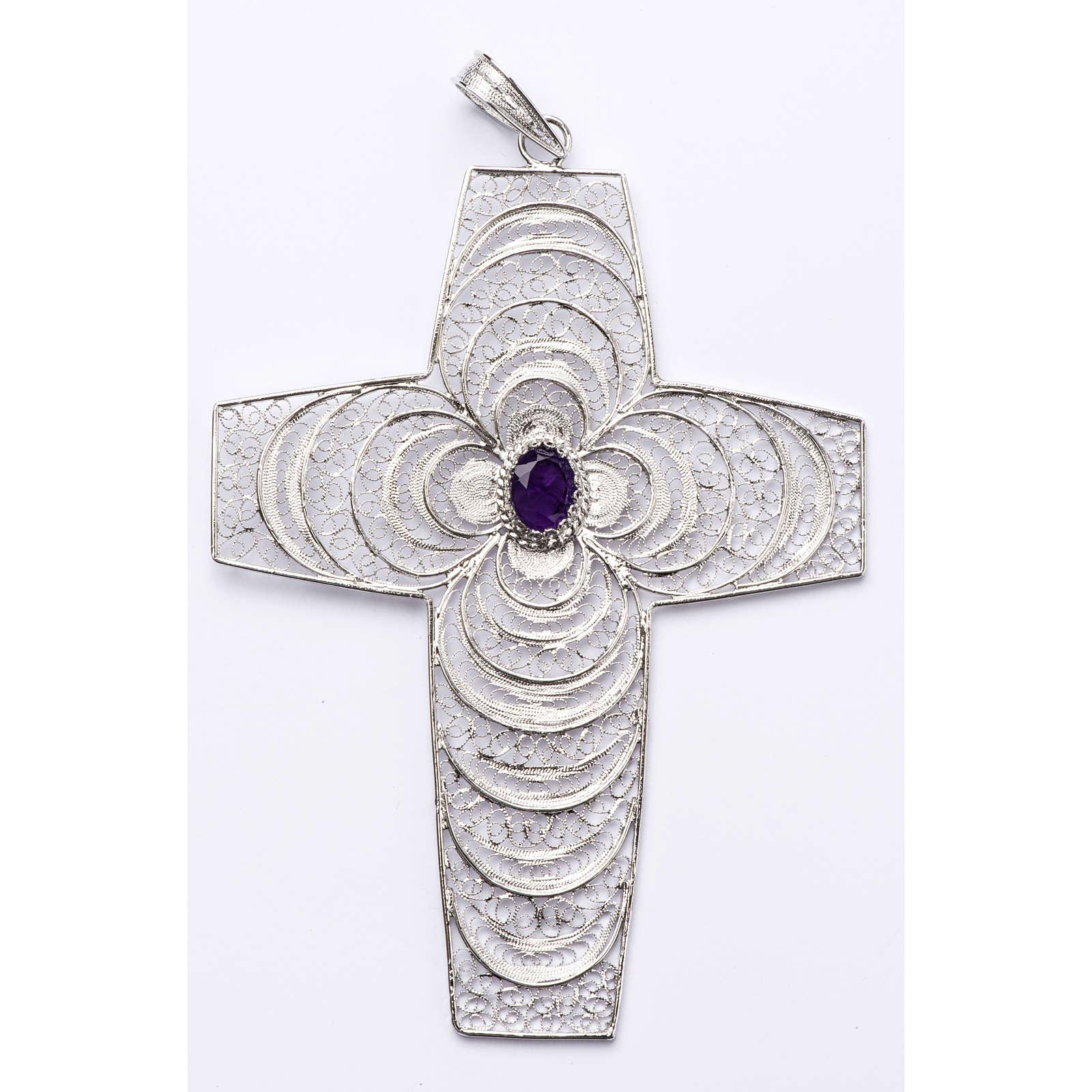 Croix pectorale argent 800 stylisée améthyste 3