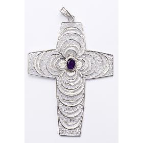 Croix pectorale argent 800 stylisée améthyste s1