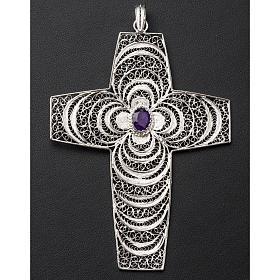 Croix pectorale argent 800 stylisée améthyste s3