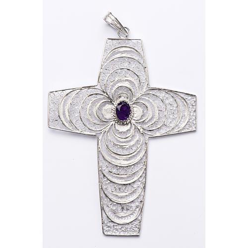 Croix pectorale argent 800 stylisée améthyste 1