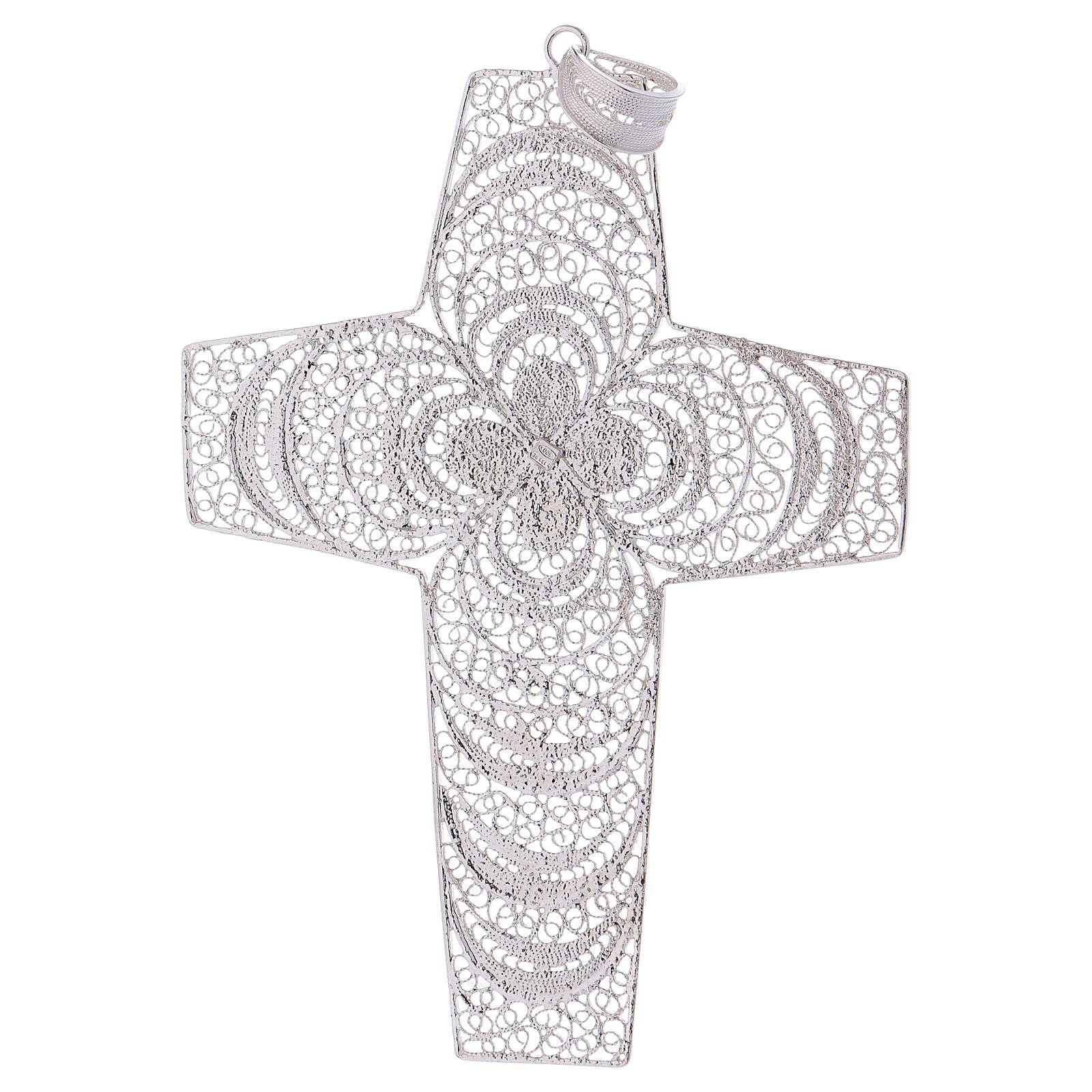 Croce pettorale argento 800 stilizzata ametista 3