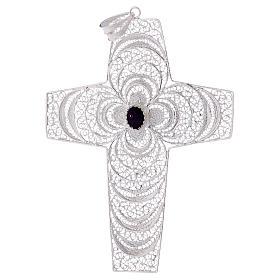 Croce pettorale argento 800 stilizzata ametista s1