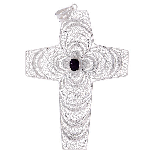 Croce pettorale argento 800 stilizzata ametista 1