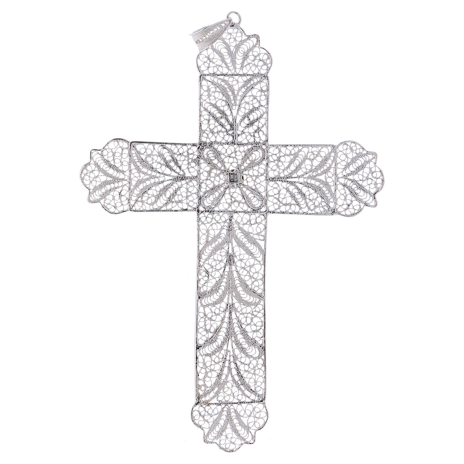 Cruz Pectoral de filigrana  estilizada, plata 800 3