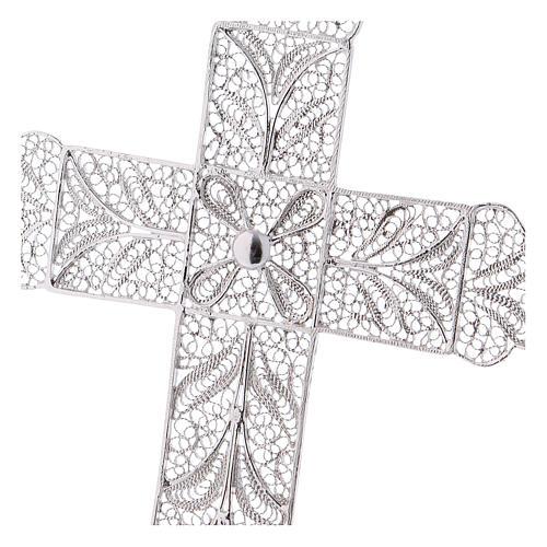 Cruz Pectoral de filigrana  estilizada, plata 800 2