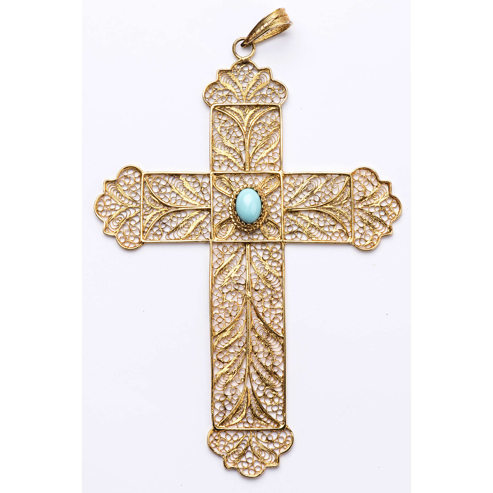 Pectoral Cross, golden silver 800 filigree with Turchese 3