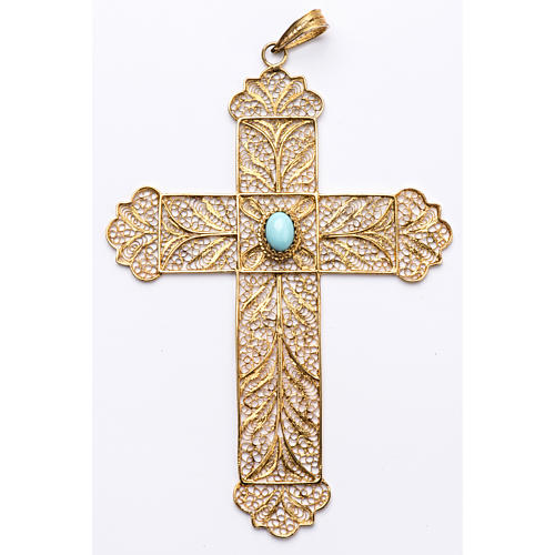 Pectoral Cross, golden silver 800 filigree with Turchese 1