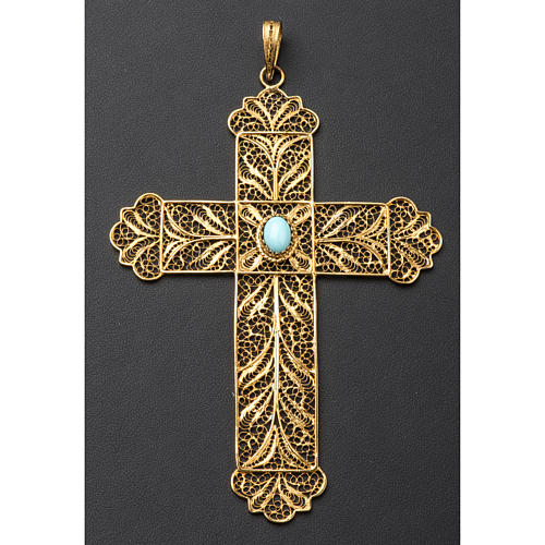 Pectoral Cross, golden silver 800 filigree with Turchese 4