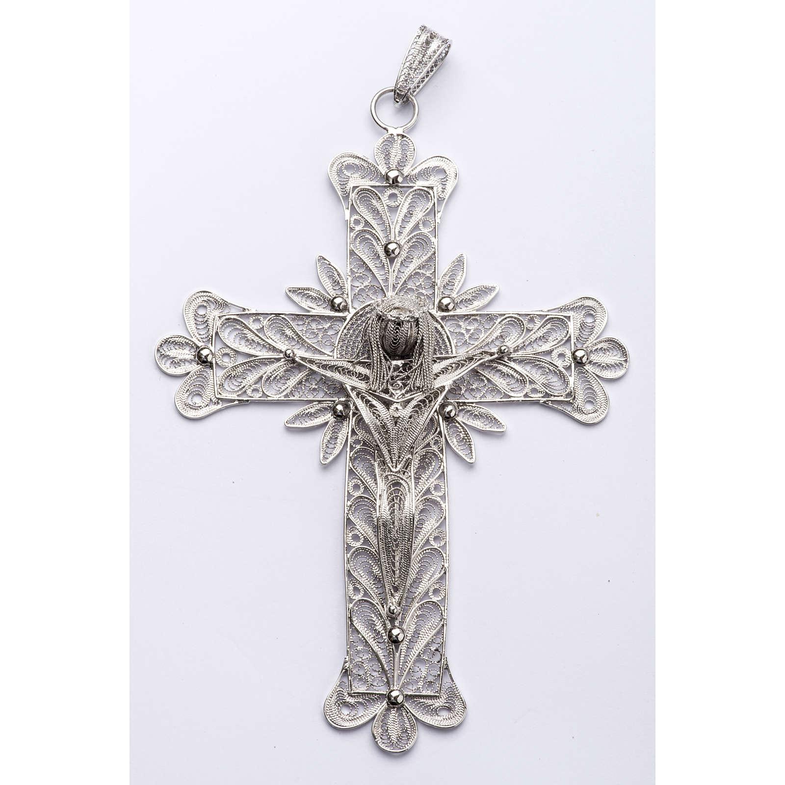 Croce vescovile Corpo di Cristo stilizzato filig. arg. 800 3