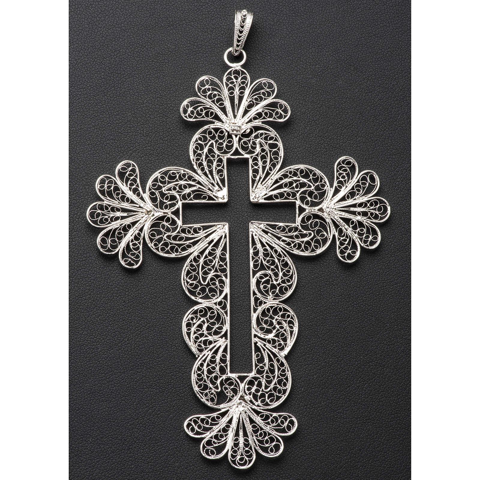 Croce vescovile decori argento 800 filigrana 3