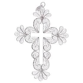Croce vescovile decori argento 800 filigrana s1