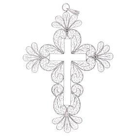 Croce vescovile decori argento 800 filigrana s3