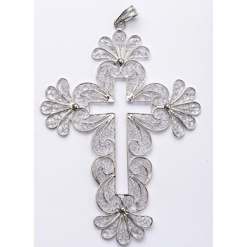 Croce vescovile decori argento 800 filigrana 1