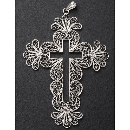 Croce vescovile decori argento 800 filigrana 4