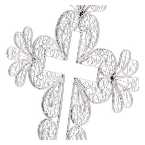 Croce vescovile decori argento 800 filigrana 2
