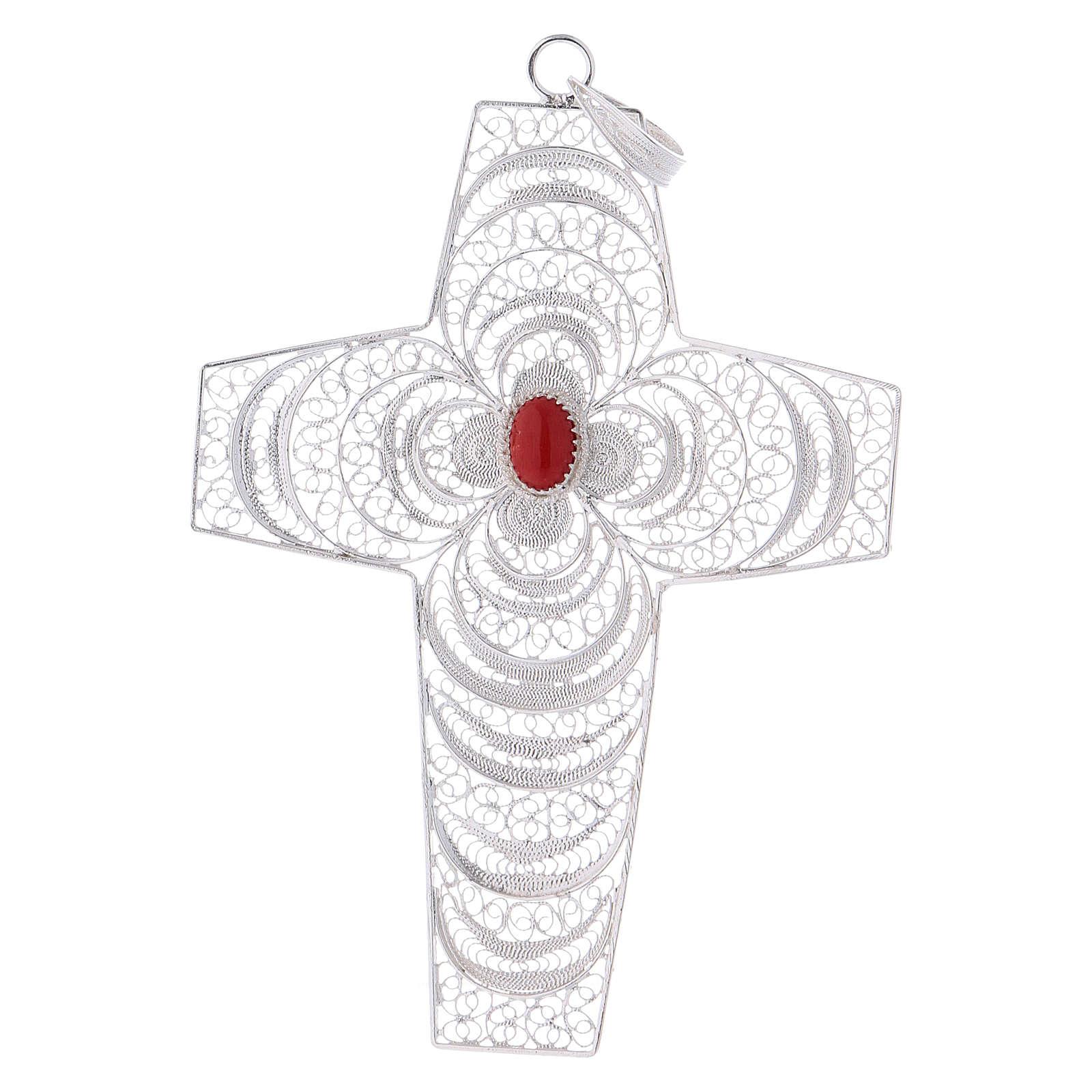 Croce vescovile corallo filigrana argento 800 3