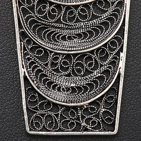 Croce vescovile corallo filigrana argento 800 s5