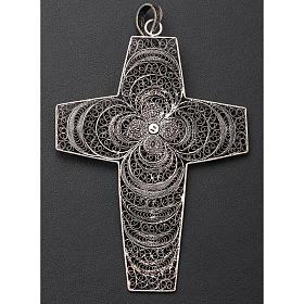 Croce vescovile corallo filigrana argento 800 s6