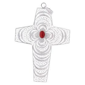Croce vescovile corallo filigrana argento 800 s1