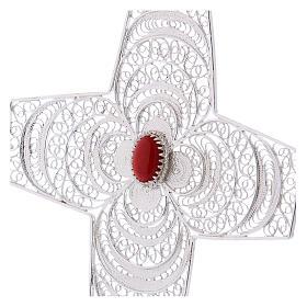 Croce vescovile corallo filigrana argento 800 s2