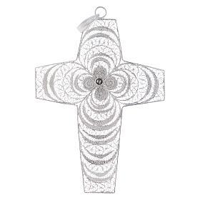 Croce vescovile corallo filigrana argento 800 s3