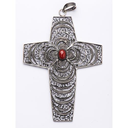 Croce vescovile corallo filigrana argento 800 1