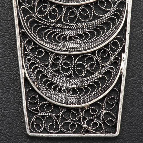 Croce vescovile corallo filigrana argento 800 5