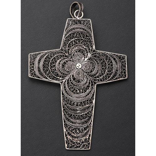 Croce vescovile corallo filigrana argento 800 6