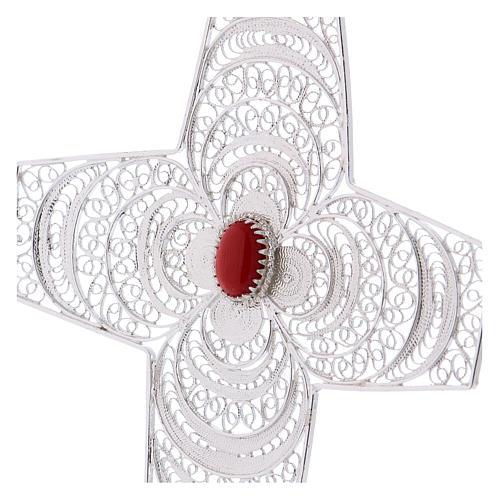 Croce vescovile corallo filigrana argento 800 2