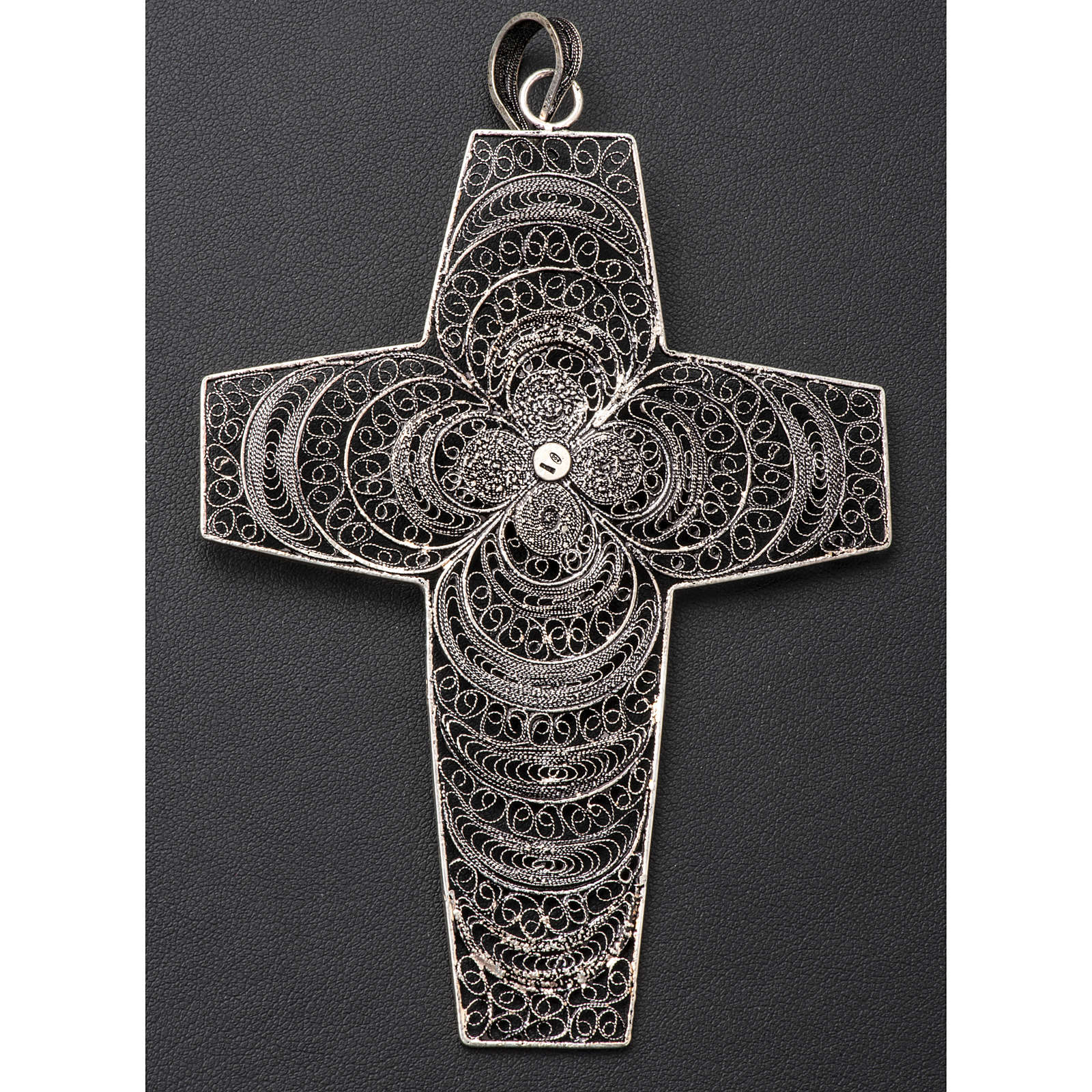 Pectoral Cross in silver 800 filigree with coral stone 3