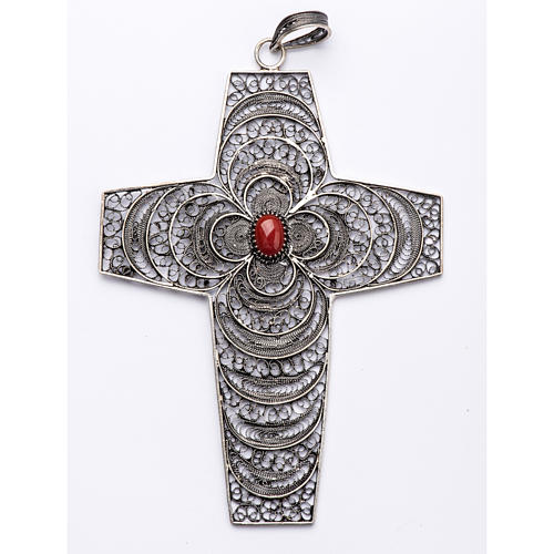 Pectoral Cross in silver 800 filigree with coral stone 1