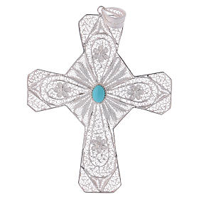 Pectoral Cross in silver 800 filigree with Turquoise stone s1