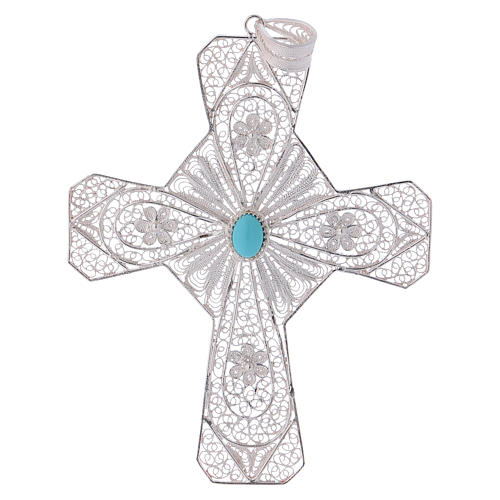 Pectoral Cross in silver 800 filigree with Turquoise stone 1