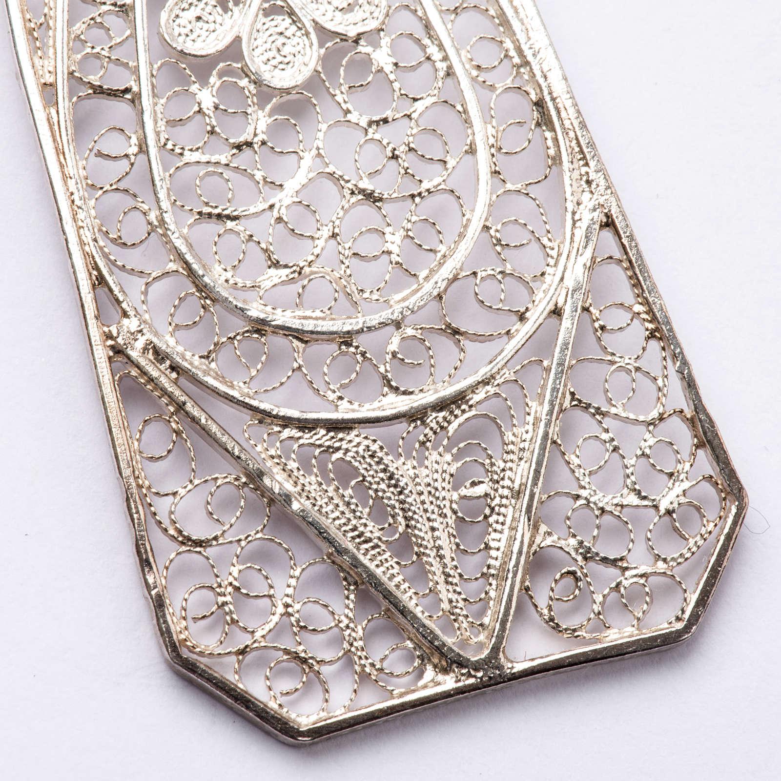 Croce vescovile turchese argento 800 filigrana 3