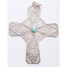 Croce vescovile turchese argento 800 filigrana s1