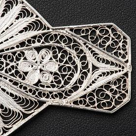 Croce vescovile turchese argento 800 filigrana s5