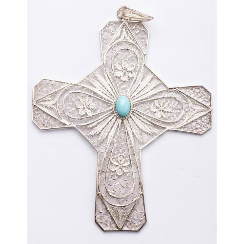 Croce vescovile turchese argento 800 filigrana 1