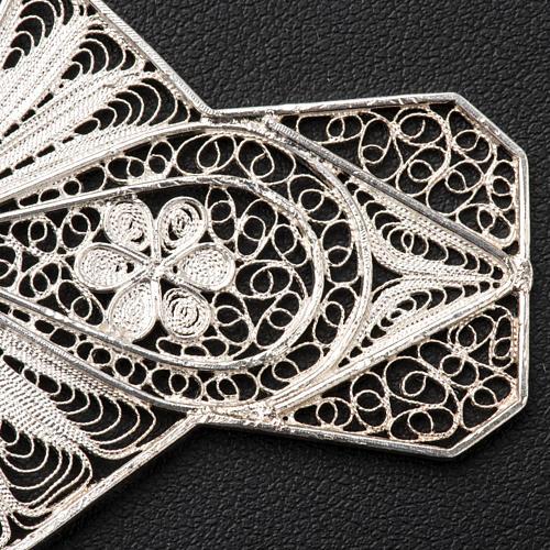 Croce vescovile turchese argento 800 filigrana 5