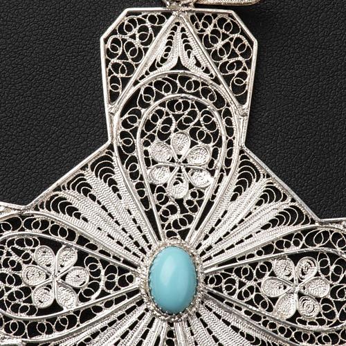 Croce vescovile turchese argento 800 filigrana 7