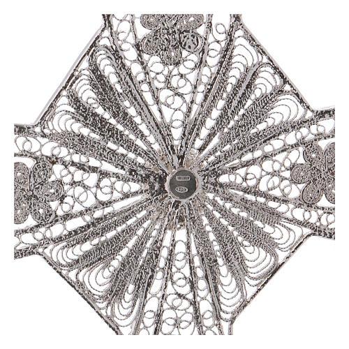 Croce vescovile turchese argento 800 filigrana 4